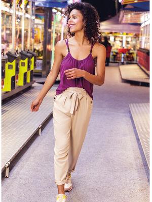 Pantalon paperpag a ceinture ecru femme