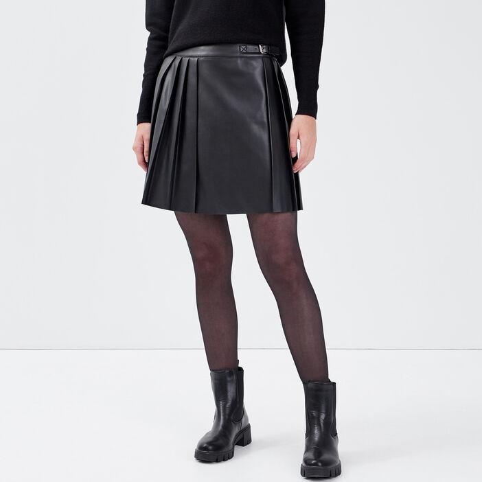 Jupe évasée avec plis noir femme