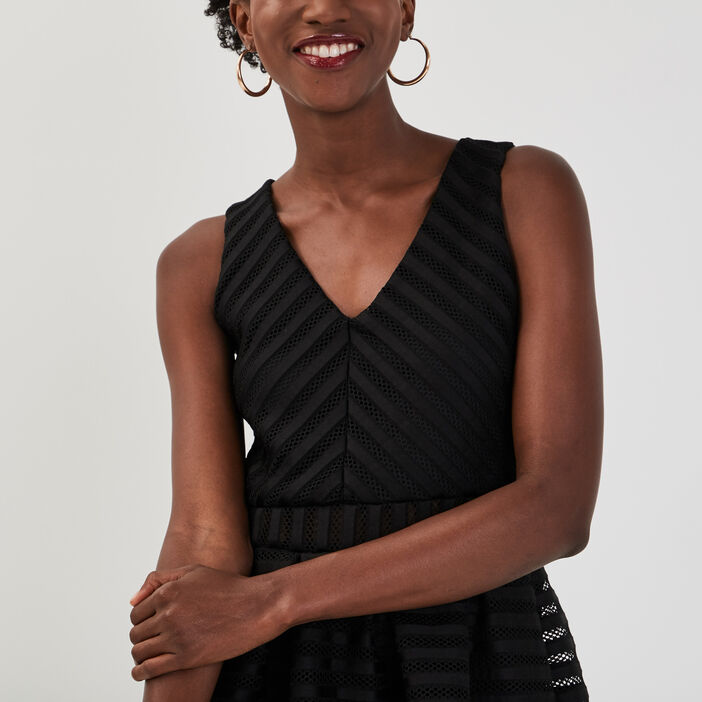Robe évasée détails ajourés noir femme