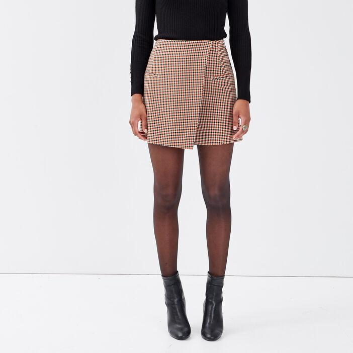 Jupe-short évasée beige femme