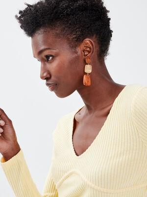 T shirt manches longues jaune clair femme