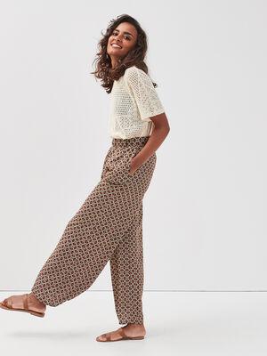 Pantalon large ceinture boucle noir femme