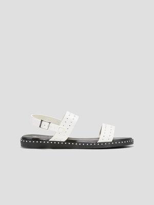 Sandales plates cloutees blanc femme