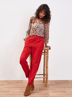 Pantalon chino fluide rouge fonce femme
