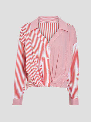 Chemise manches longues rouge fluo femme