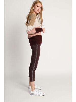 Pantalon raccourci slim violet fonce femme