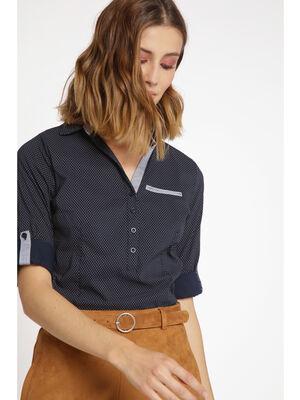 Chemise manches longues col boutonne bleu marine femme