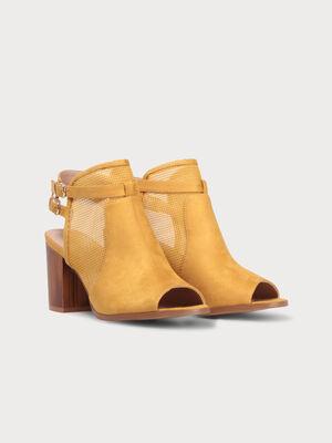 Sandales matiere ajouree talons carres jaune or femme