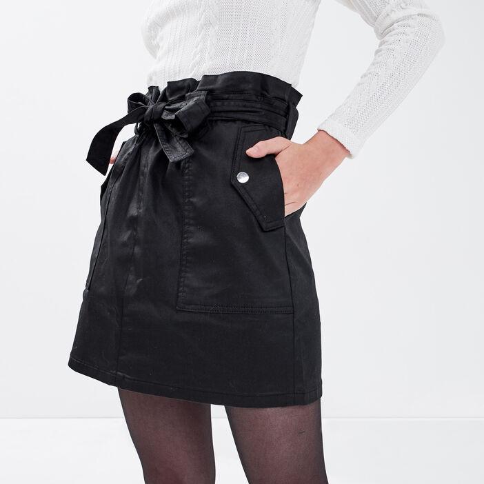 Jupe paperbag enduite noir femme