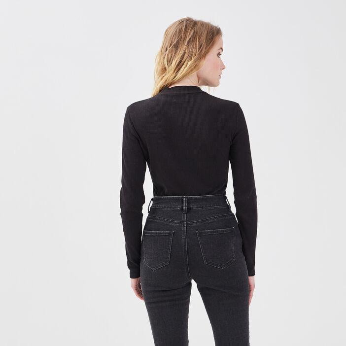 T-shirt maille côtelée noir femme
