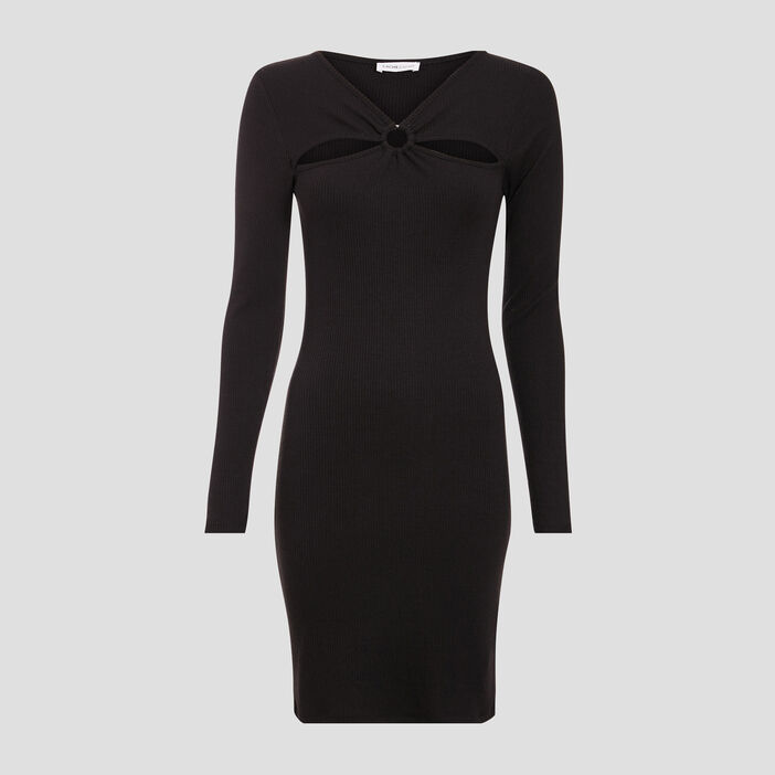 Robe ajustée côtelée noir femme