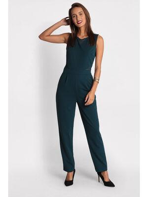 Combinaison pantalon broderie bleu canard femme