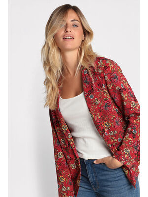 Veste blazer droite col crante rouge femme