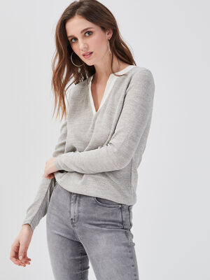 Pull gris clair femme