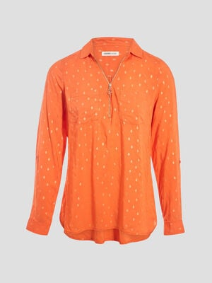 Blouse manches 34 rose corail femme