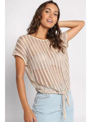 T shirt manches courtes ajoure marron clair femme