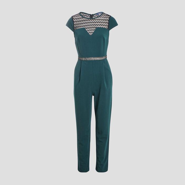 Combinaison pantalon droite vert foncé femme