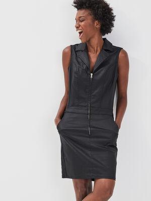 Robe droite zippee noir femme