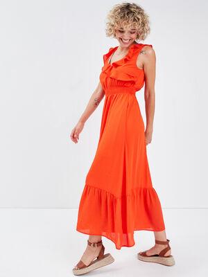 Robe longue evasee volantee orange femme