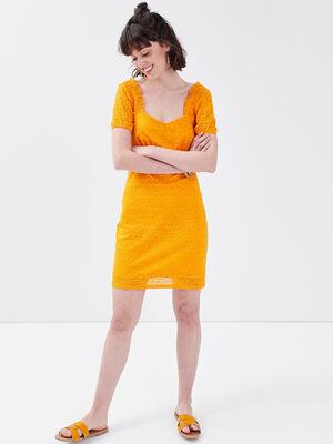 Robe droite avec dentelle jaune fonce femme