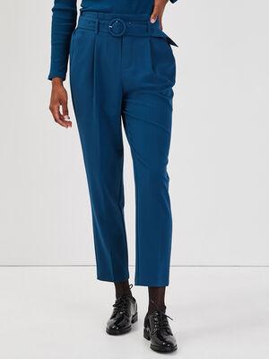 Pantalon paperbag boucle ronde bleu petrole femme