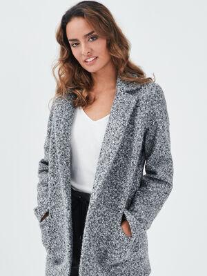 Manteau mi long gris clair femme