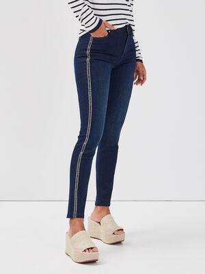 Jeans skinny bandes laterales denim brut femme