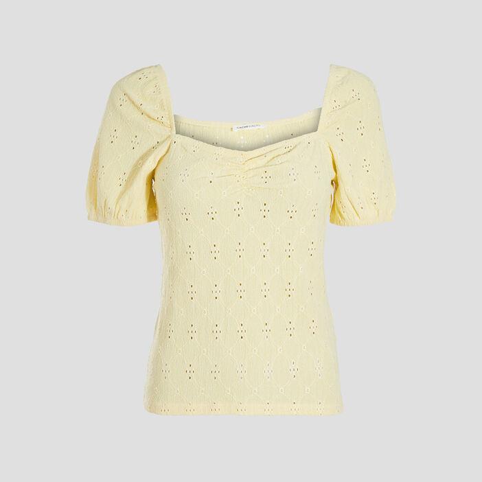 T-shirt manches courtes jaune pastel femme
