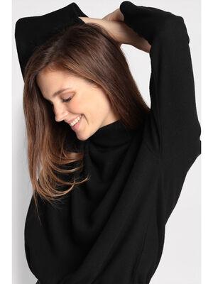 T shirt col roule noir femme