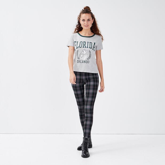T-shirt manches courtes gris clair femme