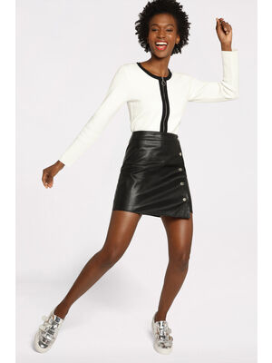 Jupe portefeuille courte noir femme