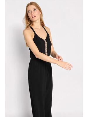 Combinaison pantalon a galons noir femme