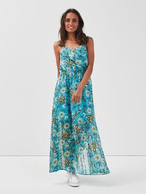 Robe longue evasee bleu turquoise femme
