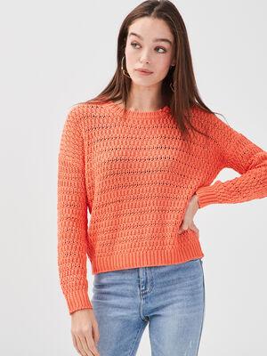 Pull ample ajoure orange corail femme