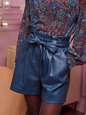 Short paperbag bleu petrole femme