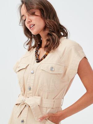 Robe droite ceinturee sable femme