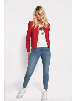 Veste blazer droite col rond rouge femme