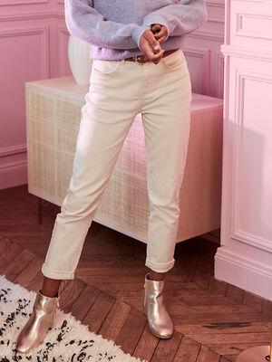 Jeans mom taille haute ecru femme