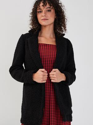 Manteau mi long noir femme