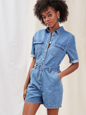 Combishort ceinturee en jean denim double stone femme
