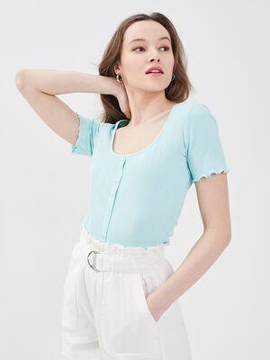 T shirt manches courtes vert turquoise femme