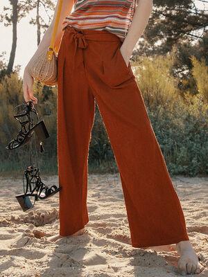 Pantalon taille haute evase rouge fonce femme