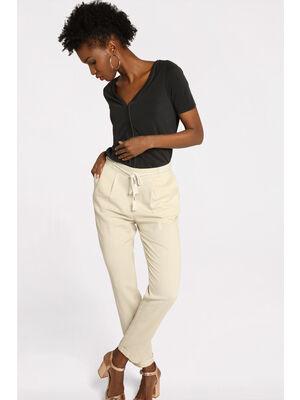 Pantalon droit ceinture beige femme