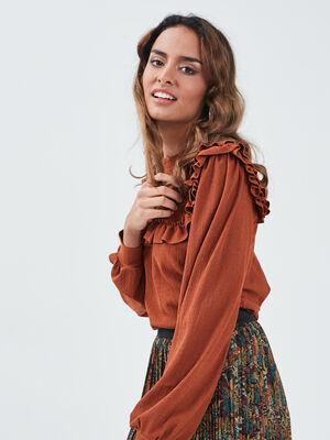 T shirt manches longues marron cognac femme