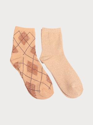 Lot 2 paires chaussettes marron clair femme