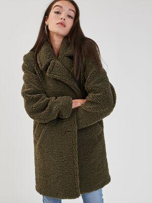 Manteau droit effet pelucheux vert kaki femme