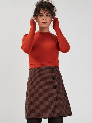 T shirt manches longues cotele orange fonce femme