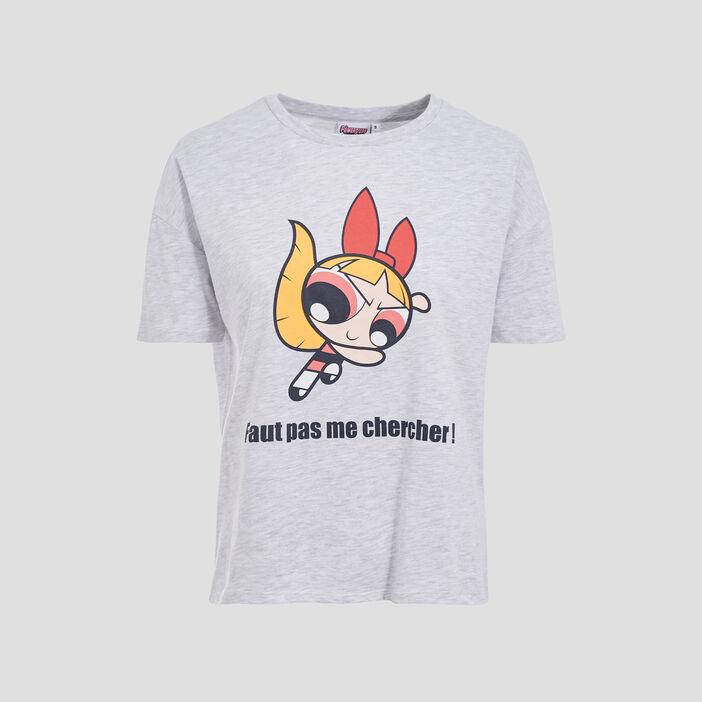 T-shirt Les Supers Nanas gris clair femme