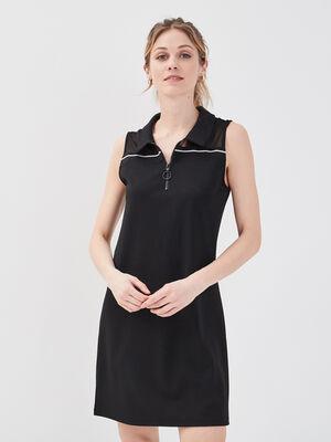 Robe polo sans manches noir femme