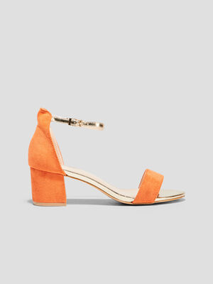 Sandales a talons carres orange femme